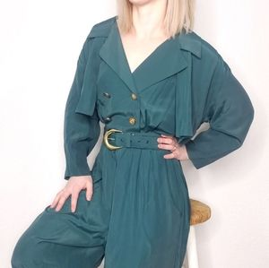 80-90s Vintage Green Button Front Belted Jumpsuit